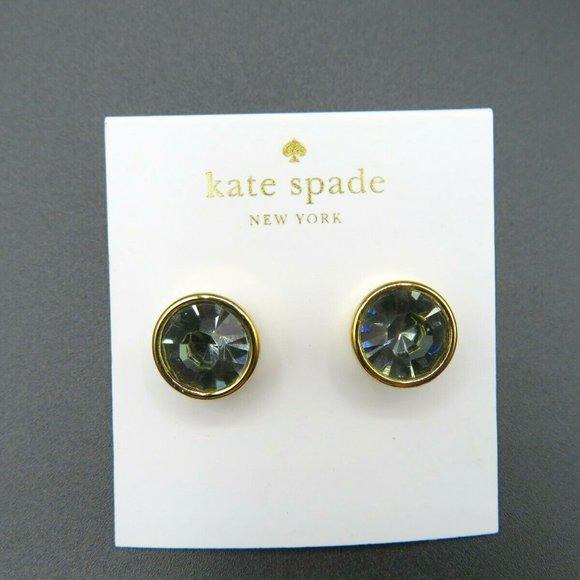 kate spade New York Round Gray Crystal Stud Earrings New